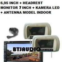 "PAKET TV MOBIL DOUBLE DIN 6,95""+HEADREST MONITOR 6,2""+KAMERA+ANTENNA"