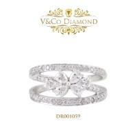Cincin Berlian Wanita Cincin Emas Putih Cincin Tunangan DR001059