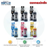 Paket 6 Tinta Aiflo 664 Kombinasi Untuk Printer Epson L100 L200 L350