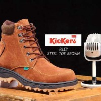 Sepatu Kickers Safety Boots Riley Suede Brown