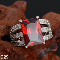 harga Cincin Perak Silver 925 Batu Cubic Zirconia Aaa Merah Ruby C29 Tokopedia.com