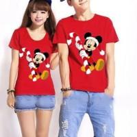 Jual CP Santa Mickey (merah) 10483 Kaos Couple / Baju Pasangan / Soulmate Murah
