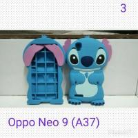 Case 4D Stitch Oppo Neo 9 / A37 /Karakter/Soft/Silikon/3D/Rubber
