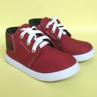 Sepatu Anak Laki-Laki Semi Boots Warna Merah Trendy Kekinian