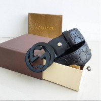 BELT GUCCI Fashion EMBOSS FULL BLACK 03 Premium QUALITY IMPORT KEREN