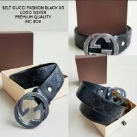 BELT GUCCI Fashion EMBOSS BLACK SILVER 03 Premium QUALITY IMPORT BAGUS