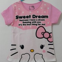 Kaos gambar Hello Kitty Pink