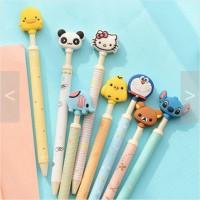 Pulpen Kepala Hello Kitty Doraemon Rilakkuma Panda Stitch Cartoon Lucu