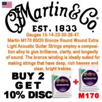 Martin M170 80/20 Bronze Extra Light Acoustic Guitar Str
