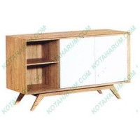 meja rak tv sliding graver agusto 2285 art deco putih coklat bandung