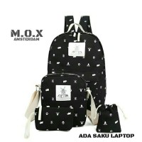 Tas punggung sekolah saku leptop oaket 4in1 multifungsi tas Amsterdam