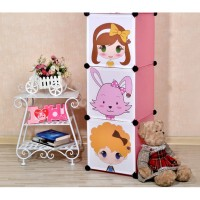 harga Lemari / Rak Susun Baju Anak 3 Pintu DIY Creative Home Storage Cabinet Tokopedia.com
