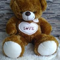 BONEKA TEDDY BEAR LARGE - BESAR BORDIR LOVE (L)