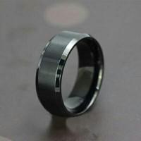 Cincin Single Titanium Hitam Black Free Ukir Nama ( Ring Pria Wanita )