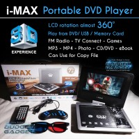 DVD Portable Player I-Max 3D (LCD Rotate, FM Radio, TV Tuner Murah
