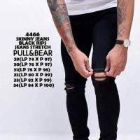 celana jeans pull&bear skinny black rips/jeans sobek