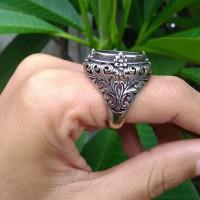 emban cincin perak 925 ukir krangcang 4cakar bunga