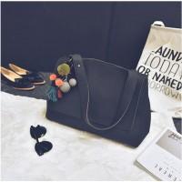 Tas Wanita Import J19603 Black Handbag Leather Bag PomPom Fringe Zara