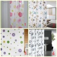 Tirai Kamar Mandi anti air Shower Curtain Bathroom motif waterproof
