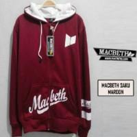 Jaket Macbeth Saku Maroon Sweater Pria Wanita Grosir Murah