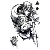 LC853 Sketch Handsome Zhao Yun Painting Temporary Tatto Sticker