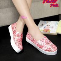 Flat shoes sepatu casual kets flower bunga pink floral unik murah