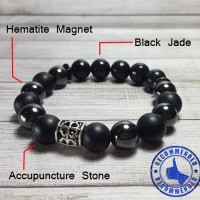 Jual Gelang Kesehatan Black Jade Magnet Hematite Akupuntur Kombinasi Small Murah