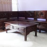 Kursi Tamu Sudut Blok Minimalis Finishing Bakar Serat Kayu