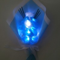 Jual Buket Anniversary Bunga Mawar Berpendar Cool Blue ext Murah