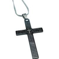 Kalung Salib Titanium [Doa Bapa Kami Spanyol] + Rantai + Tali Hitam