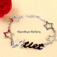 Gelang Nama Motif Bintang - Perhiasan Nama Monel Silver