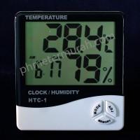 HTC1 HTC-1 HTC 1 Thermometer Hygrometer meter Dengan Jam dan Alarm