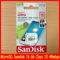 harga Micro SD Sandisk Ultra 16 Gb / 16Gb class 10 (up to 48MB/s) Tokopedia.com