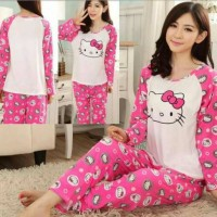 STHK300 - Setelan Piyama Hello Kitty Face Pink Fanta Import