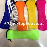 Jual alat makan portable (sendok garpu sumpit) free pouch MURAH! Murah