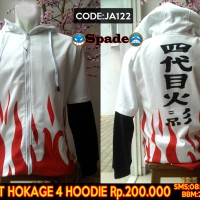 jaket anime naruto hokage,jaket hokage 4,hoodie yondaime (spade)