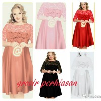 Jual dress jumbo / bigsize / big size / XL / kombi brokat / BAGUS Murah