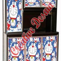Stiker kulkas/rak piring lemari 3 pintu doraemon