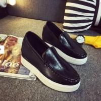 harga Sepatu Impor Black Chroco Fashion Shoes Korea Casual Wedges Wanita Tokopedia.com