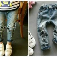 Jeans Anak Belel Hitam Biru Panjang | Jeans Anak Model Sobek Belel