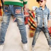 Jeans Anak Belel Hitam Biru Panjang | Jeans Anak Sobek Belel