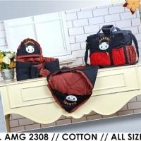 Perlengkapan Bayi Lengkap (Tas, Selimut, Gendongan) Cotton Twill Merah