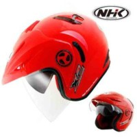 Helm NHK X2 Solid Half Face Red Merah Double Visor
