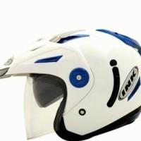Helm INK T1 2D Putih Biru Half Face Solid Double Visor