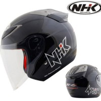 Helm NHK R6 Solid Half Face Keren Full Black