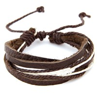 Gelang Korean Brown Rope Leather Multilayer Design Coklat