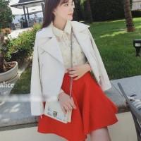 Flare Skirt/ Rok Pendek/ rok MIni/ROk Pesta Tekstur Merah Import Murah