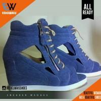 harga sneaker wedges sepatu wanita denim platform nike adidas boots heels Tokopedia.com