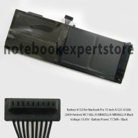 Baterai A1321for Macbook Pro 15-Inch A1321 A1286 (2009 Version) Black