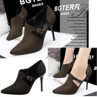 harga 70365 Brown Heel Beludru 10cm Sepatu import wanita/high heels/batam Tokopedia.com